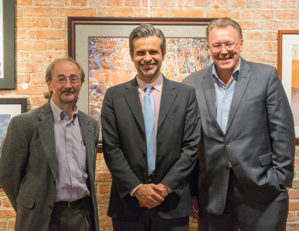 "Picture left to right is Starkweather Society Board President David Pyrce, Detroit Institute of Arts, Director Salvador Salort-Pons, and Macomb County Commissioner Don Brown at ""DIA Director's Cut"" which was hosted at the Starkweather Arts Center in Romeo last week. Salort-Pons gave the local art community an update on the DIA. (Submitted photo)"